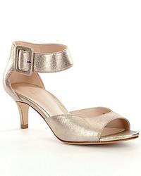 Pelle Moda Berlin Metallic Leather Kitten Heel Dress Sandals
