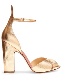 Francesco Russo Block Heel Snakeskin Effect Leather Sandals