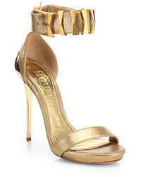 Alexander McQueen Bridge Embellished Metallic Leather Sandals