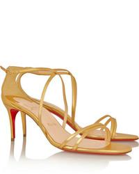 christian louboutin leather metallic sandals