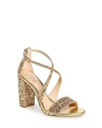 JEWEL BADGLEY MISCHKA Cook Block Heel Glitter Sandal