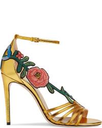 Gucci Embroidered Metallic Leather Mid Heel Sandal