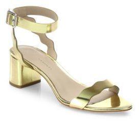 0081924b60a ... Loeffler Randall Emi Scallop Metallic Leather Block Heel Sandals ...