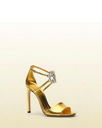 Gucci Gg Sparkling Metallic Leather Sandal