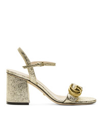 Gucci Gold Gg Marmont Heeled Sandals