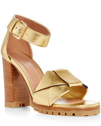 Marni Gold Leather Sandals With Wooden Heel