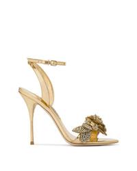 Sophia Webster Gold Lilico Crystal 110 Leather Sandals