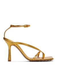 Bottega Veneta Gold Stretch Heeled Sandals