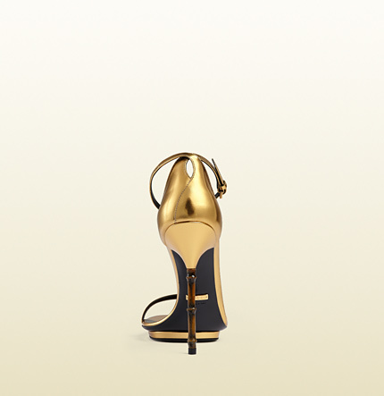 cc4eef53005 Gucci Metallic Leather Sandal With Bamboo Shaped Heel