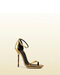Gucci Metallic Leather Sandal With Bamboo Shaped Heel