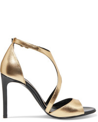 Lanvin Harnais Metallic Leather And Patent Leather Sandals Gold