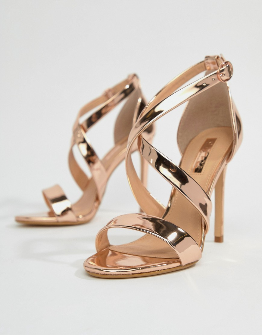 Office Harper Gold Strappy Heeled
