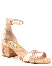 Steve Madden Irenee Metallic Leather Banded Ankle Strap Cork Dress Sandals