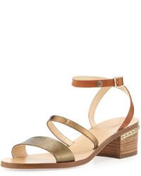 Jimmy Choo Miko Strappy Leather City Sandal Honey Goldcaramel