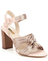Louise et Cie Kamden Metallic Leather Slingback Knotted Block Heel Sandals