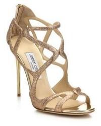 Jimmy Choo Leslie Glitter Metallic Leather Sandals