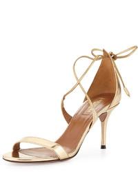 Aquazzura Linda Metallic Leather Sandal Light Gold