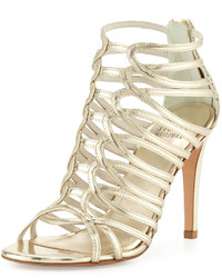 Stuart Weitzman Loops Leather Strappy Cage Sandal Pale Gold