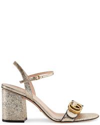 Gucci Metallic Laminate Leather Mid Heel Sandal