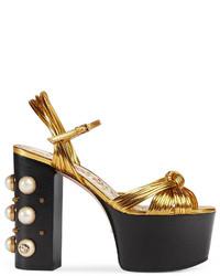 Gucci Metallic Leather Platform Sandal