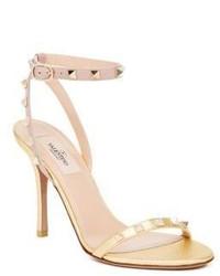 Valentino Metallic Leather Rockstud Sandals