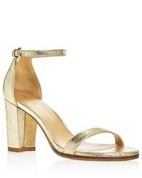 Stuart Weitzman Nearlynude Ankle Strap High Heel Sandals