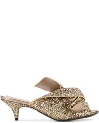 No.21 No21 Glittery Kitten Heeled Sandals