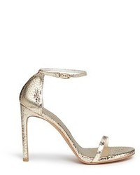 Stuart Weitzman Nudist Song Crack Effect Metallic Leather Sandals