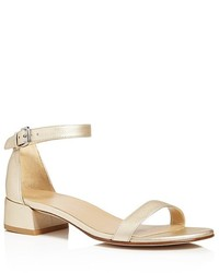 Stuart Weitzman Nudistjune Leather Block Heel Ankle Strap Sandals
