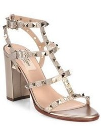 Valentino Rockstud Metallic Leather Block Heel Sandals