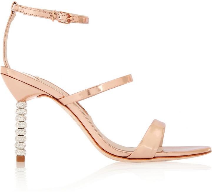 d79ecc7f60eb ... Sophia Webster Rosalind Crystal Embellished Metallic Leather Sandals Rose  Gold