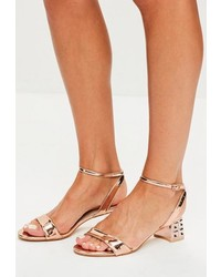 Missguided Rose Gold Metal Block Heeled Sandals