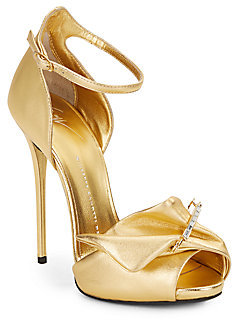 8291ed26057cc ... Giuseppe Zanotti Safety Pin Metallic Leather High Heel Sandals