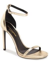 Saint Laurent Jane Ankle Strap Leather Sandal