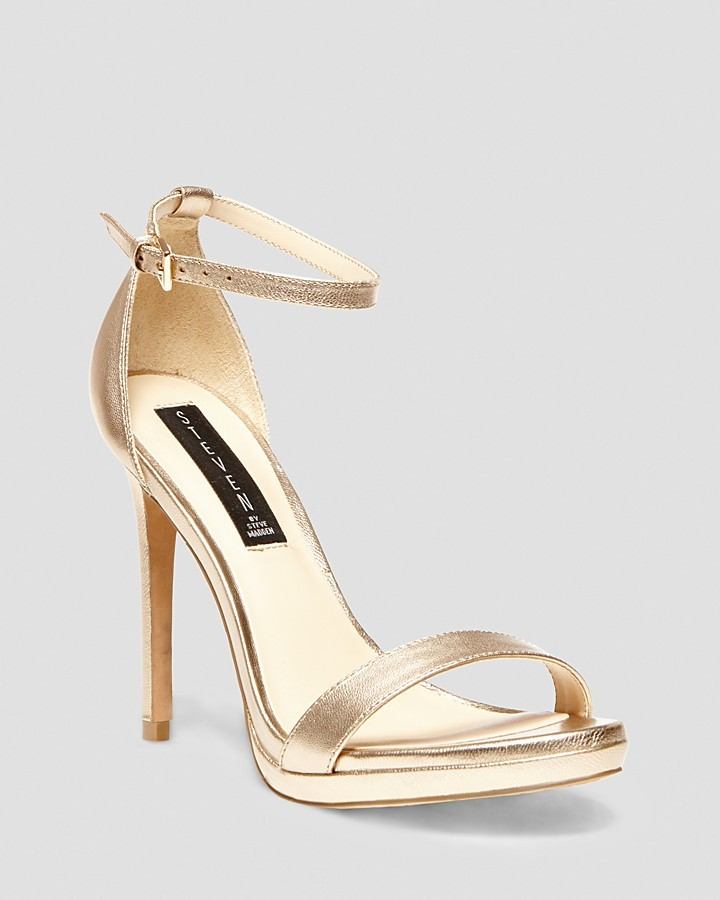 8b54bc984914 ... Gold Leather Heeled Sandals Steve Madden Steven By Sandals Rykie Ankle  Strap High Heel ...