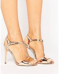 New Look T Bar Metallic Heeled Sandal