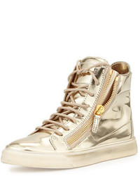Gold Leather High Top Sneakers