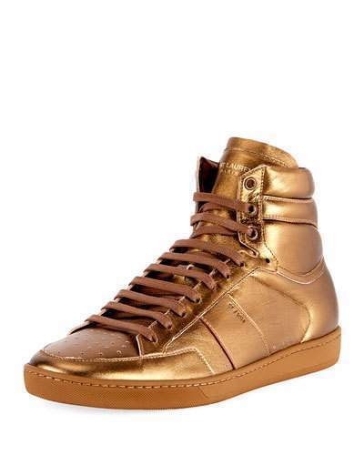 high top gold sneakers