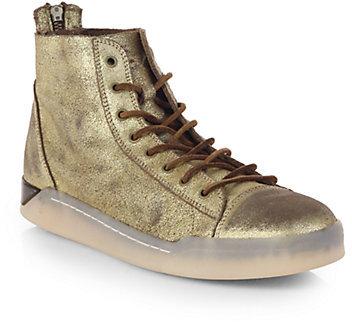 b71b83e15e ... Saks Fifth Avenue › Diesel › Gold Leather High Top Sneakers Diesel  Tempus Diamond Cracked Suede High Top Sneakers ...