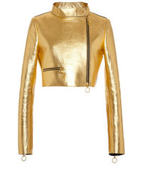 Fausto Puglisi Gold Cropped Leather Jacket Gold