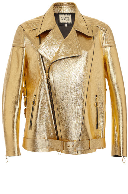 Fausto Puglisi Gold Leather Moto Jacket Gold | Where to buy & how ...