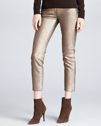 Ralph Lauren Black Label 400 Cropped Matchstick Metallic Jeans Aged Bronze