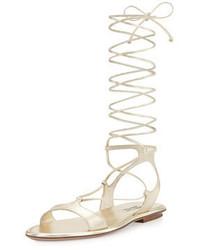 Miu Miu Metallic Strappy Gladiator Flat Sandal Pirite