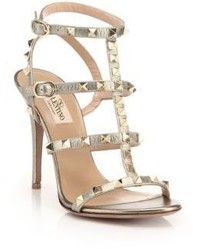 Rockstud metallic leather gladiator sandals medium 634447