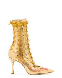 Gold Leather Lace-up Ankle Boots