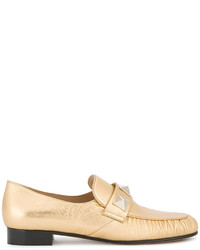 Gold leather rockstud loafers medium 4978626