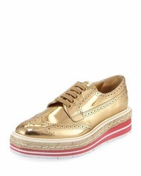 Prada Metallic Wing Tip Platform Loafer Gold