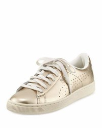 Puma Basket Classic Citi Metallic Low Top Sneaker Silver Goldwhisper White