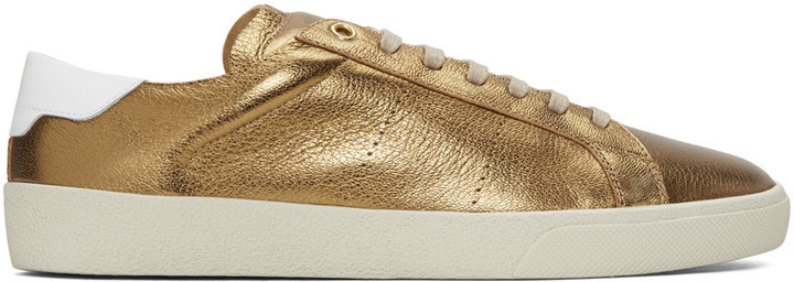 61c9ad35a47 $545, Saint Laurent Bronze Sl 06 Court Classic Sneakers