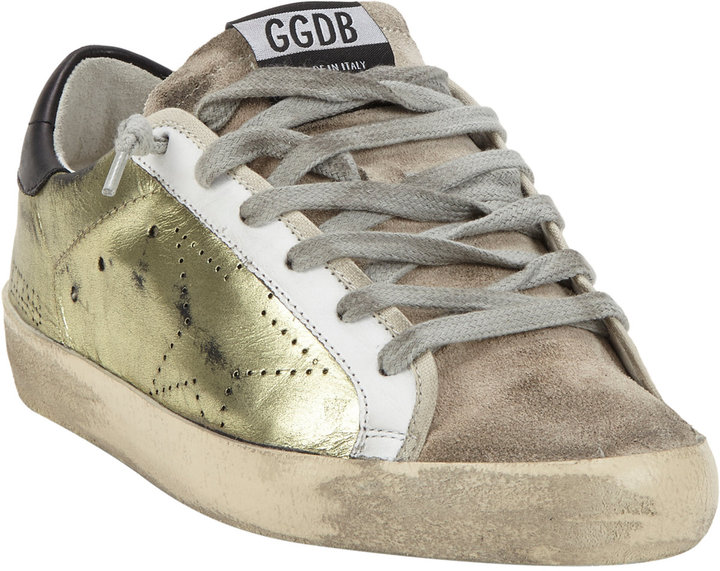 $515, Golden Goose Distressed Superstar Sneakers Gold